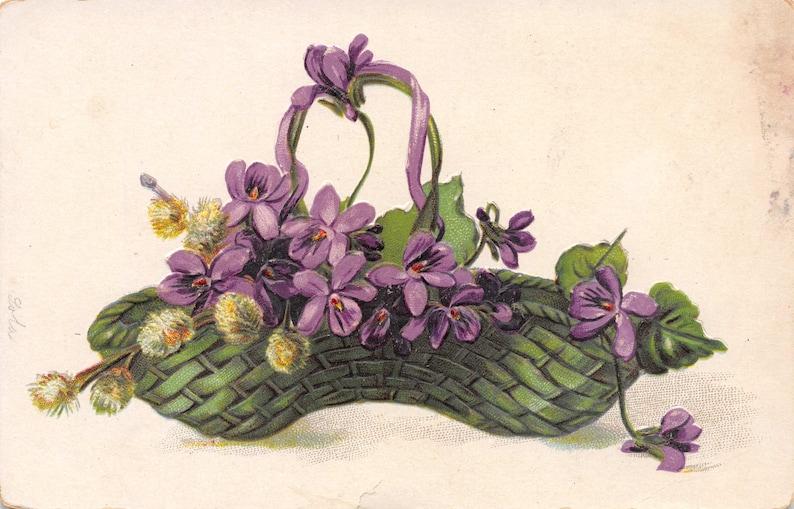 Purple flowers in green basket antique postcard 1900s vintage decor ideas Victorian botanical decor spring decor Edwardian art