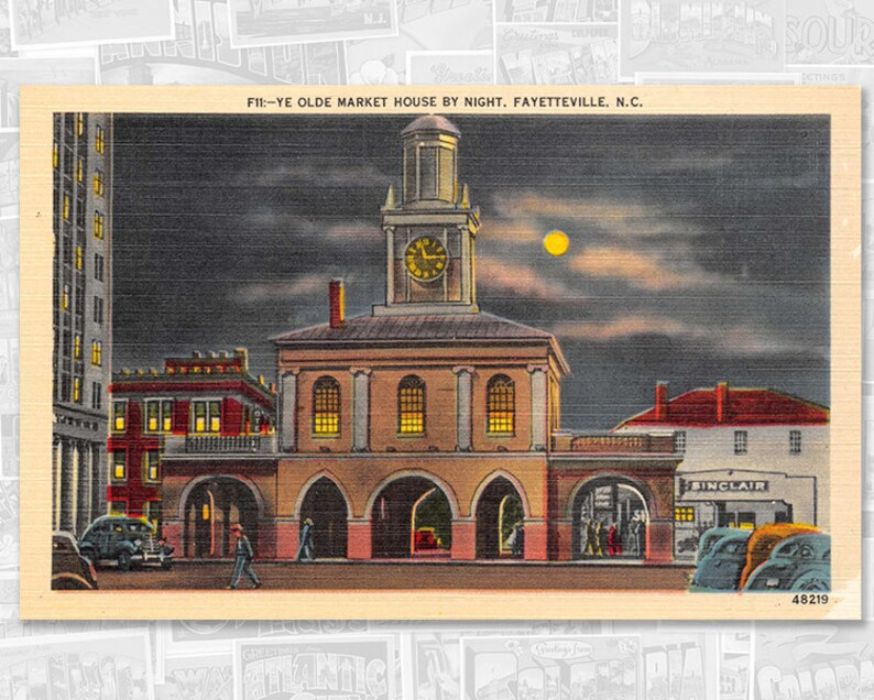 Fayetteville North Carolina vintage postcard, Market House