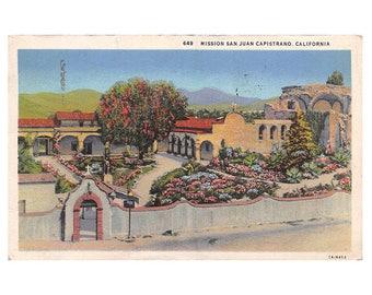 Mission San Juan Capistrano California vintage linen postcard   Catholic church Christian decor   1930s CA travel, hometown gift, home state