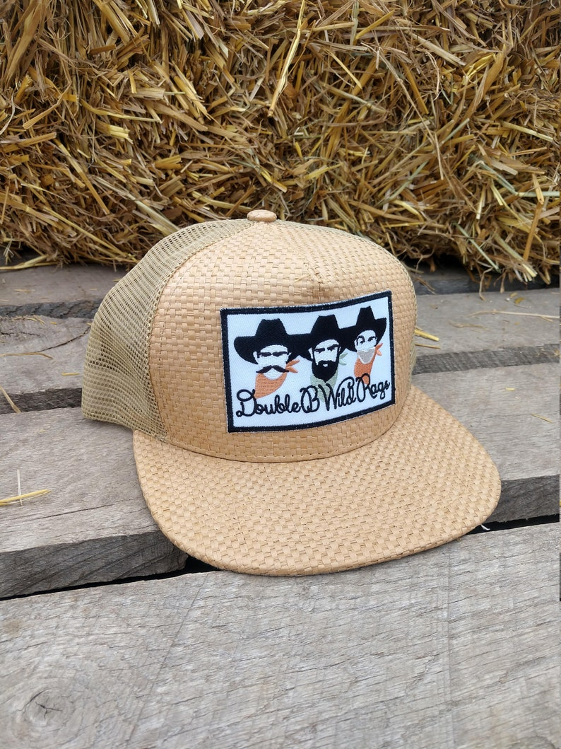 Double B Wild Rags Vintage Western Straw Snapback Trucker Hat cap 4 different colors