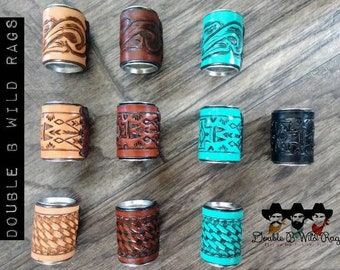 """Leather 1.5"""" Basket Weave, Cross, or Floral Tooled Wild Rag Scarf Concho Slide"""