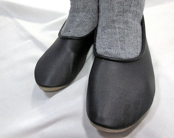 Black Leather Slippers for Women, soft and flexible ballet style flats, great for travel and exercise