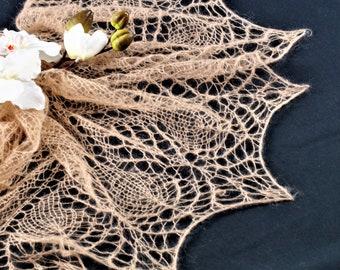 Brown Shawl,Hand Knitted Shawl ,Wool Shawl,Party Shawl,Wedding Accessories,Bridal Shawl,Party Accessories,Mohair Shawl,Handmade Shawl