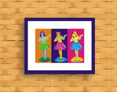Hula Girl Dashboard - Pop Art Original Print by C Wiedenheft comes with a white mat and ready to frame.