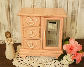 04576a755a Girls Jewelry Box Vintage Shabby Chic Paint - Pink Jewelry Box Armoire /  Jewelry Holder Box with Drawers - Distressed Shabby Chic Box