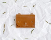 Cat Wallet - leather simple cardholder in caramel brown