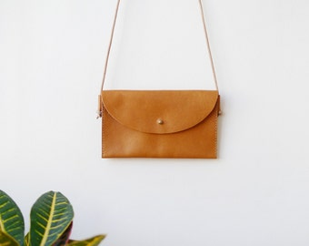 Three Pocket Crossbody Bag - leather shoulder bag