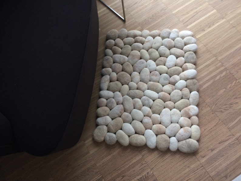 Felt stone rug  bath mat multicolor beige