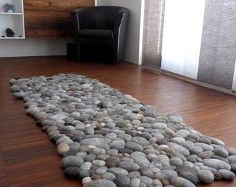 felt carpet supersoft pebbles - felt stone carpet, wool from sheep & lama