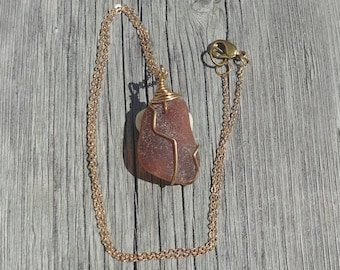 Frosted Brown Beach Glass Sea Glass Reversible Pendant Necklace
