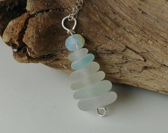 Frosted White and Sea Foam Green Multistacked Genuine Beach Glass Sea Glass Pendant with Multifaceted Glass Bead on Sterling Silver Necklace