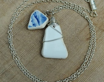 Genuine Beach Pottery Sea Pottery Shard Double Pendant White and Blue Wire Wrapped and Flat Bail Necklace