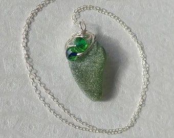 Frosted Lime Green Genuine Beach Glass Sea Glass Wire Wrapped Pendant with Green Blue Multifaceted Glass Bead Accents Sterling Silver Chain