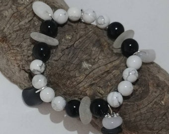 Frosted White Genuine Beach Glass Sea Glass, Onyx and Howlite Stone Beads with Polished Basalt and Quartz Charms Impressive Elastic Bracelet