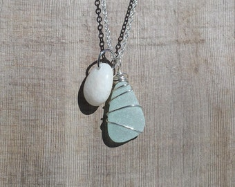 Frosted Sea Foam Green Genuine Beach Glass Sea Glass with Polished White with Milky Swirls Beach Stone Wire Wrapped Double Pendant Necklace