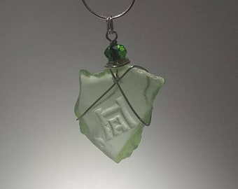 Rare Genuine UV Beach Glass Sea Glass Hazel-Atlas Glass Sterling Silver Wire Wrapped Pendant with Dark Green Faceted Bead Sterling Necklace