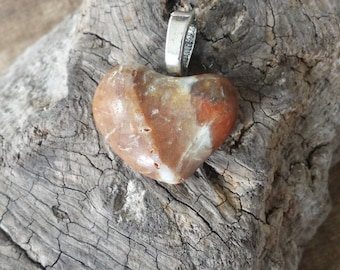 Polished Heart Shaped Brown, White and Tan Colored Beach Stone Sea Stone with Flat Bail Pendant