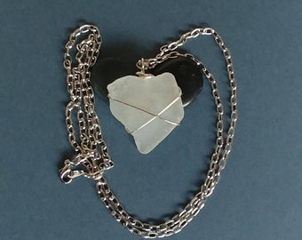 Frosted Sea Foam Green Angular Heart Shaped Genuine Beach Glass Sea Glass. Criss Cross Wire Wrapped Pendant Necklace Valentines Day Gift