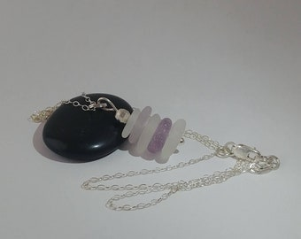 Frosted White and Pink Lavender Multistacked Pastel Coloured Genuine Beach Glass Sea Glass with Multifaceted Sterling Bead Sterling Necklace