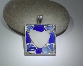 Genuine Blue Beach Glass Sea Glass and Blue Beach Pottery Sea Pottery Mosaic with White Heart Shaped Center in Square Bezel Setting Pendant