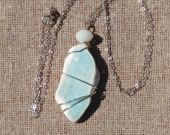 Genuine Beach Sea Pottery Shard Oblong White with Blue Green Crazed Pattern Wire Wrapped Pendant with White Glass Bead Sterling Necklace