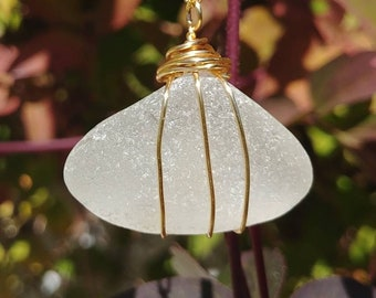 Off White Frosted Chunky Genuine Beach Glass Sea Glass Pyramid Shaped Gold Toned Wire Wrapped Pendant with Gold Filled Chain Necklace