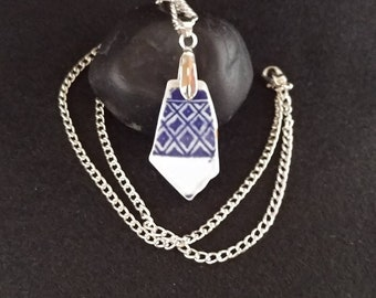 Genuine Beach Pottery Sea Pottery Blue Triangular Geometric Pattern on White Background Curved Pendant with Pinch Bail Necklace