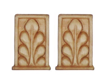 """Wood Appliques Carving 2 pieces Small Framed Leaf 1-1/4"""" x 2"""" x 1/8"""""""