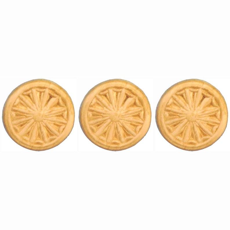 Wood Carvings Birch 1-18 Round Pinwheel Appliques Choose Quantity
