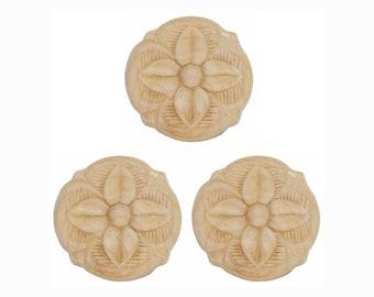 """Wood Appliques Die-Cut Birch 3 pcs. 4 Petal Rosette 1-1/2"""" x 1-1/2"""" x 1/8"""""""