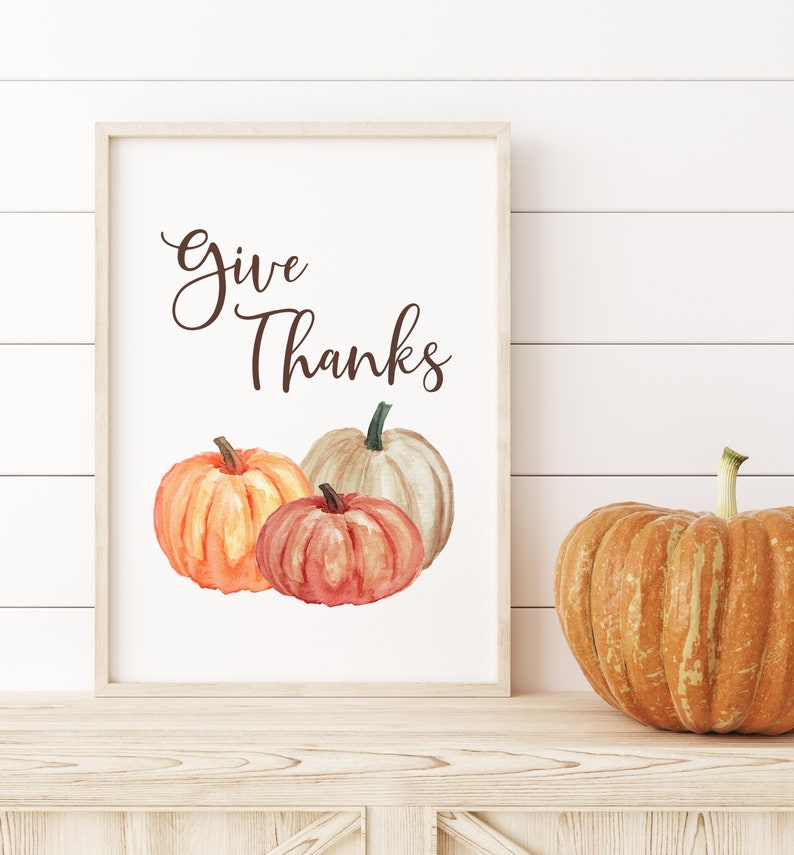 Give Thanks Wall Digital Art Print with Watercolor Pumpkins image 1