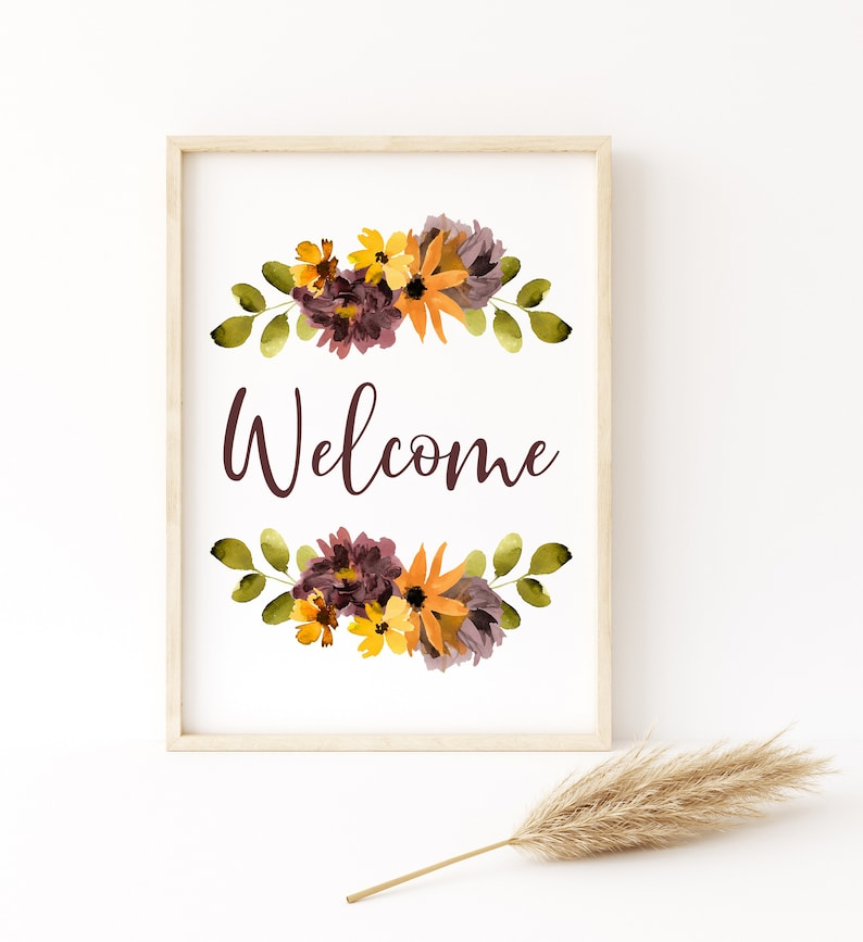 Fall Watercolor Welcome Digital Art Print Instant Download image 1