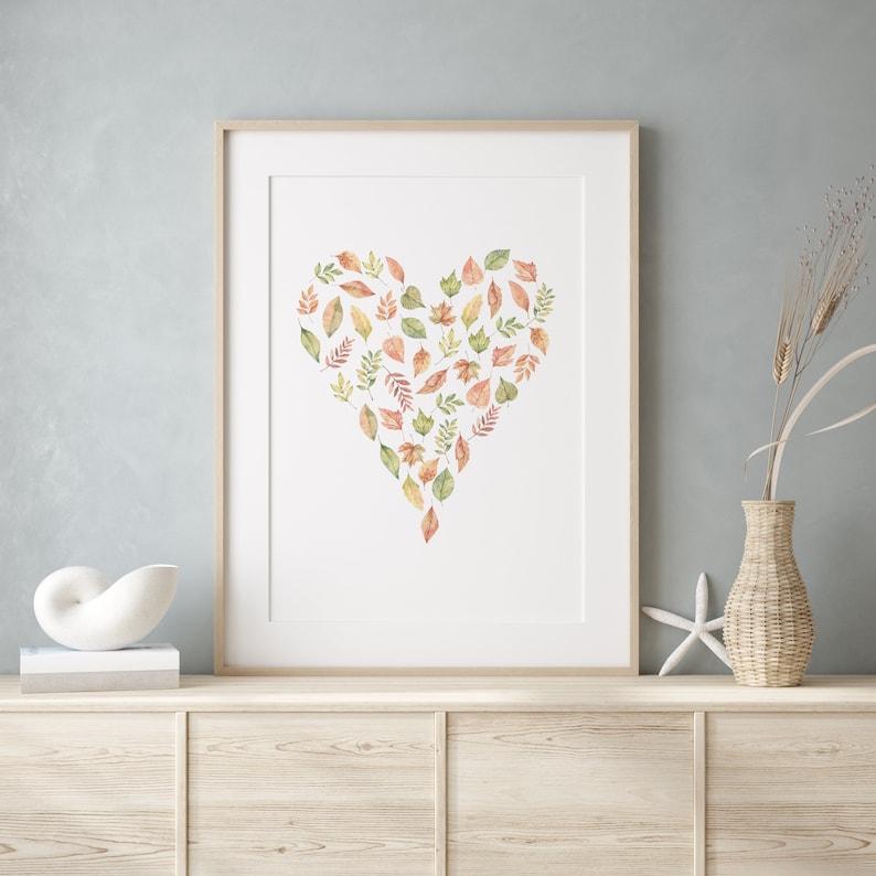 Watercolor Fall Leaves Heart Digital Art Print illustration image 1