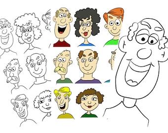 Digitale cartoon stempels 9 stuks