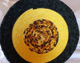 Yellow/Black Coiled Bowl  #171