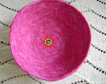 Large Fuchsia Coiled Bowl with Applique  #174