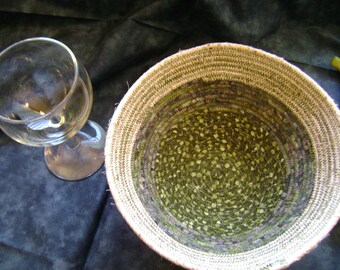 Shades of Green Round Coiled Bowl  #180