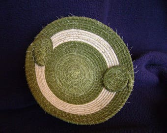 Green Coiled Bowl with at twist # 190