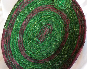 Green & Wine Coiled Bowl  #140
