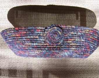 Multi-Color Oval Fabric Coiled Bowl #199