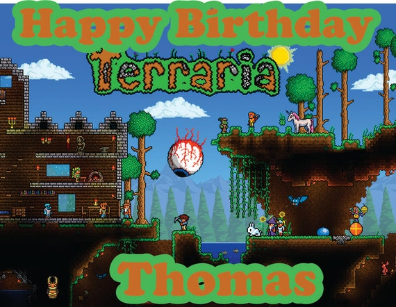 Terraria party decoration round edible party cake topper cake image