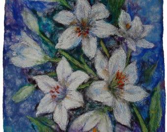 Felt painting white lilies, Painting with wool, Felt wall art, Fiber art mixed media, Textile art, OOAK
