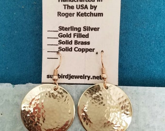 Hammered solid brass earrings