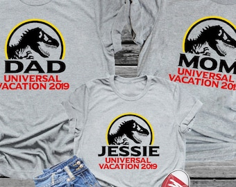 81b1c702 Jurassic Family Vacation Theme Park Shirt Personalized Tee with Name  Universal Trip Vacation Studios Orlando Matching Shirt Sets Dino
