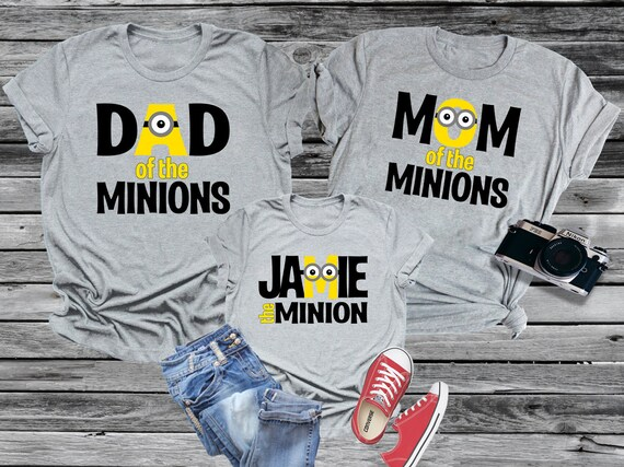 Minion Family Shirt Personalized Mom Dad or Kid Tee with Name Universal Trip Vacation Matching Sets Birthday Party Boy Girl Baby Despicable