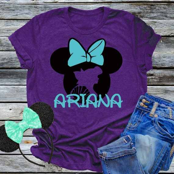 Minnie Mouse Ariel Shirt Princess Personalized Name Tee Birthday Party Disney World Vacation Trip Little Mermaid Girl Family Gift Idea SALE