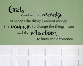 Serenity Prayer FUNKY Quote Wall Vinyl Decal Bedroom Kitchen Decor Inspirational Room Gift Courage Wisdom Christian Faith Inspiring Bible