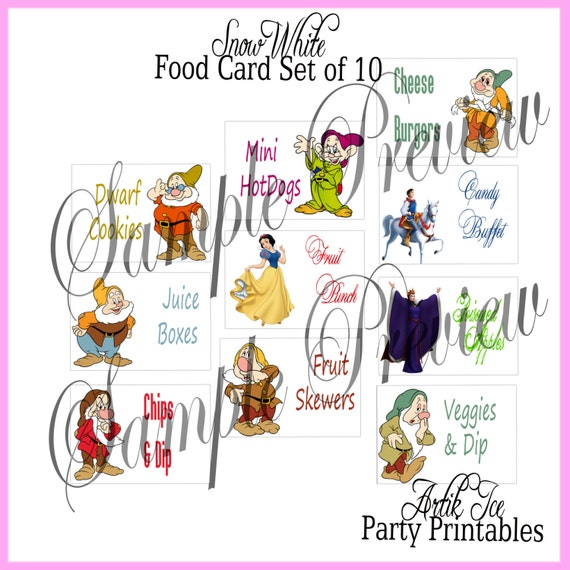 Snow White Birthday Party BLANK Foldable Cards Food Menu