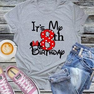 Minnie Mouse Its My Birthday Shirt Personalized Tee Mickey Disney World Family Vacation Trip Name Party Epcot Magic Girl Boy Dad Sister Aunt