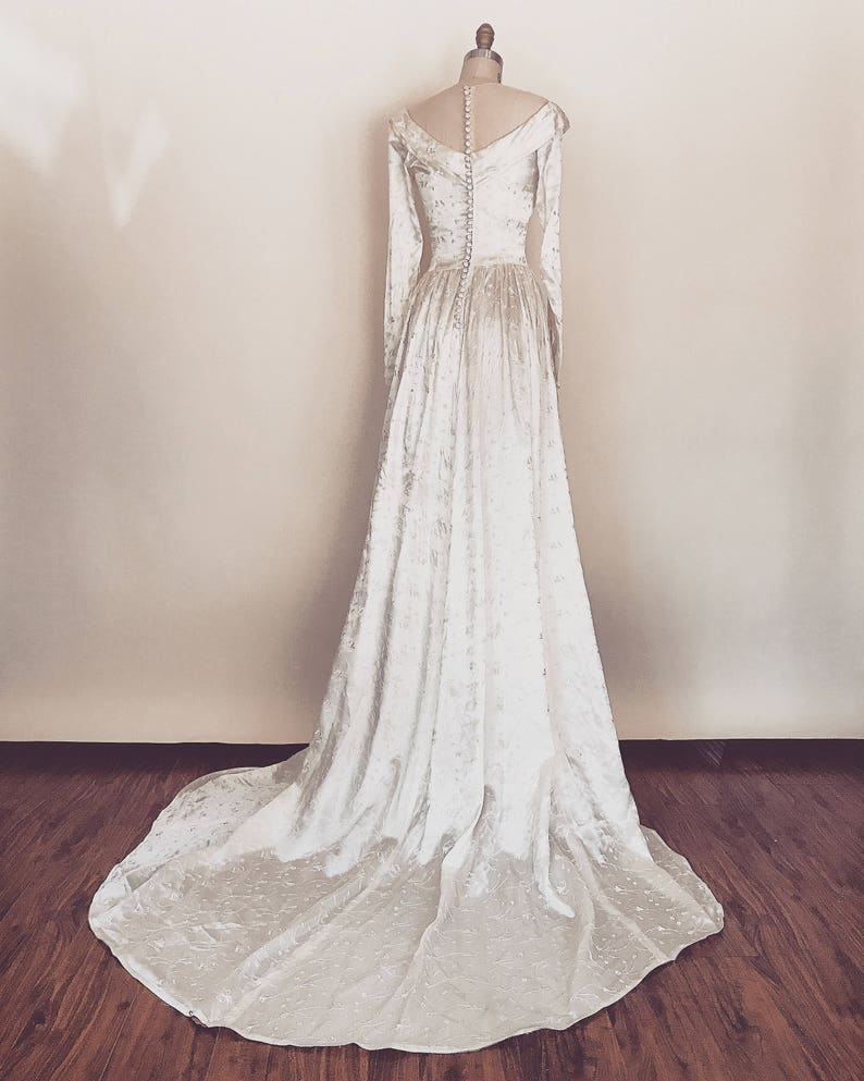 8d96ae7c7a Betrothed Gown Vintage 1940s embroidered satin wedding dress